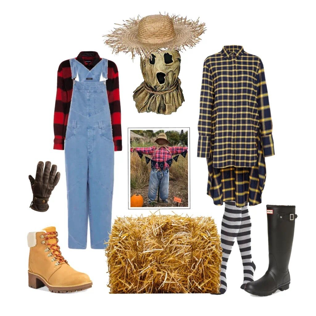 SCARECROW - 1) Plaid shirt + denim jumpsuit or jeans + boots2) Plaid dress + knee socks + rain boots+ gloves + straw hat (or a burlap sack mask) + more straw so it sticks out of your pockets and shoes