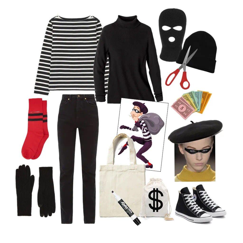 BURGLAR - Striped long sleeve tee or a black turtleneck+ black leggings or black slim trousers + kicks + black gloves+ funny socks because why not + black beanie or a beret+ canvas tote + fake money