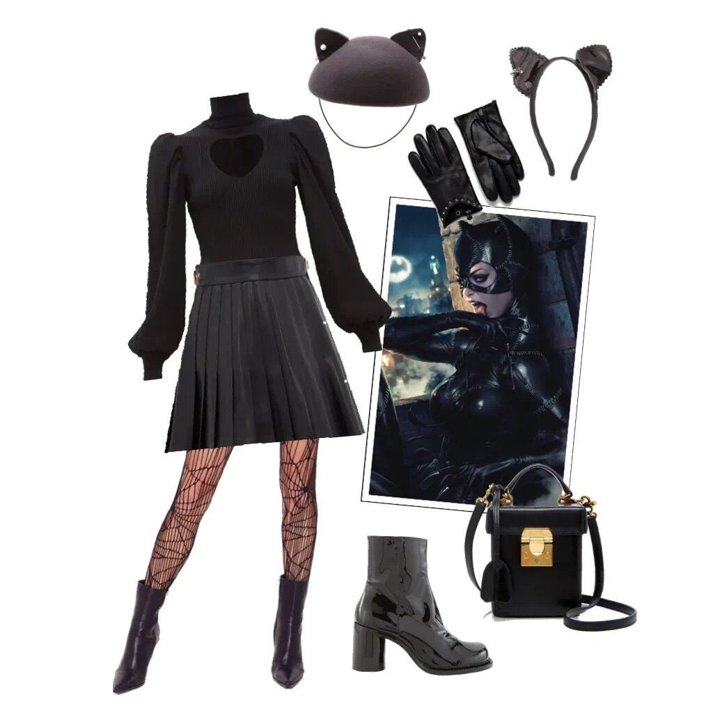 catwoman - Basically any black clothes you have+ cat ears and a tail + makeup (try exaggerated cat eye and dark lipstick, or use facepaint to make a cat face)