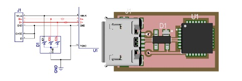 This schematic subsection and PCB render shows a circuit with an 3-ESD Diode array used to protect the data and power lines between a micro-USB plug and an integrated circuit. Place the ESD Diodes as close to the plug as the design will allow.
