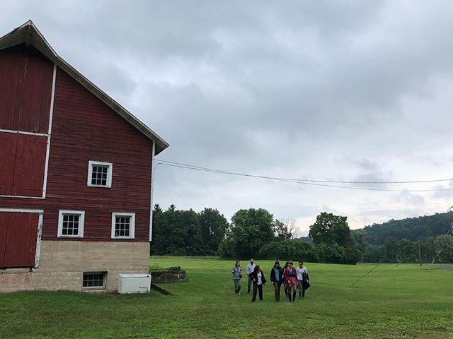 We had the pleasure of welcoming members of the @stonebarns farm team and a group of soil carbon researchers from @northwoodess on the farm yesterday. Wonderful to learn from our partners in the field! #breathedeepfarm #organic #biodynamic #hudsonvalleygrains #barley