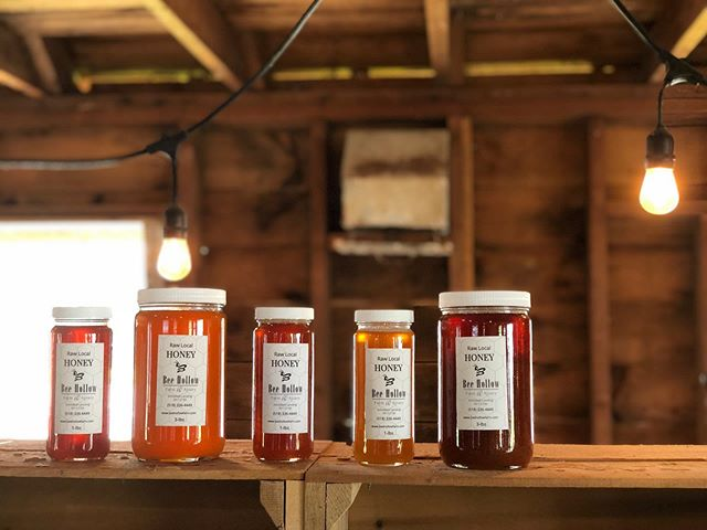 Beautiful shades of @beehollowfarm honey at the @farmatmillerscrossing farm store. We love knowing our #organic #biodynamic fields help support this delicious byproduct! #breathedeepfarm
