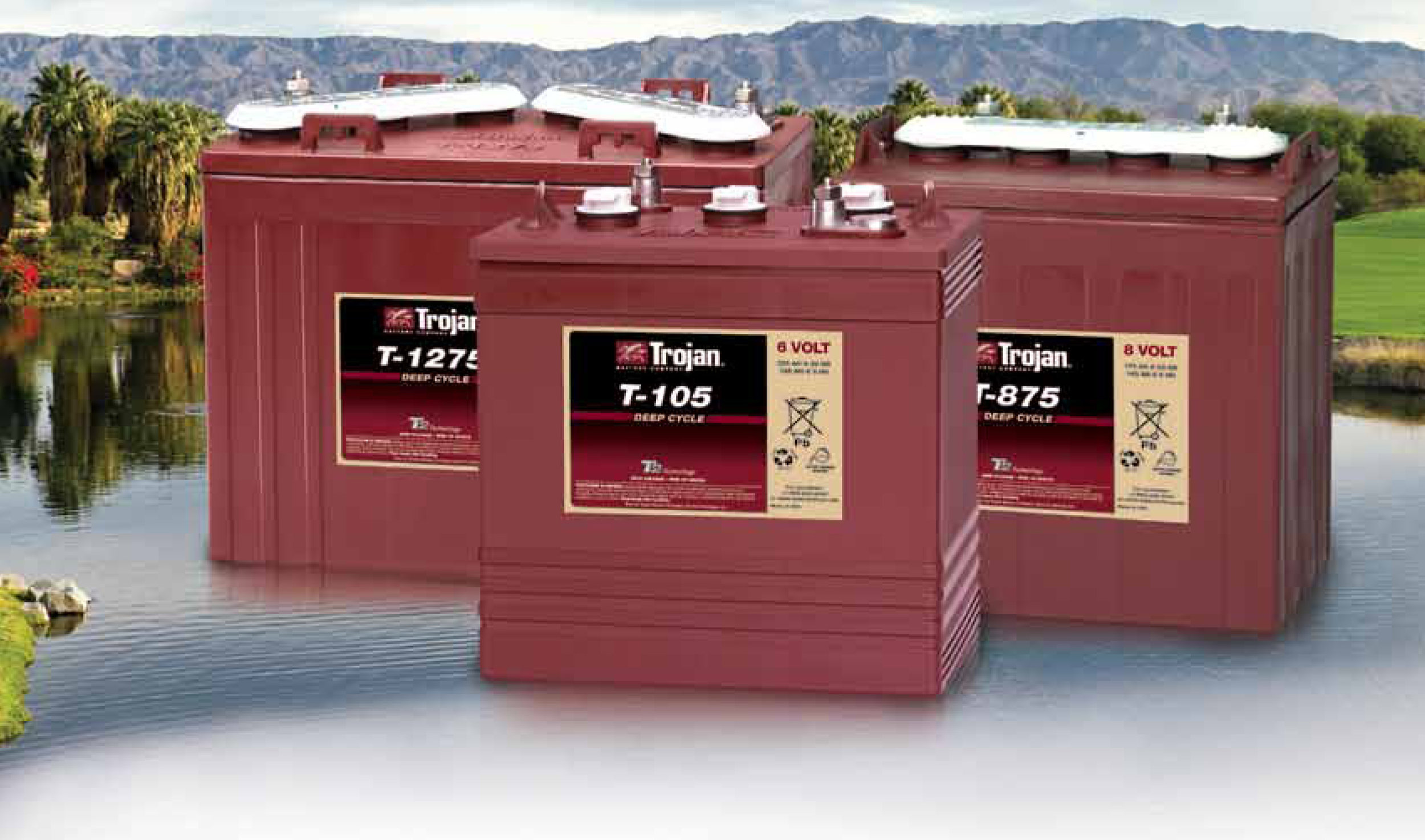 - Get in the swing of things with Trojan deep cycle batteries for your Golf cart. 6V, 8V, or 12 Volt no problem, we have them all.