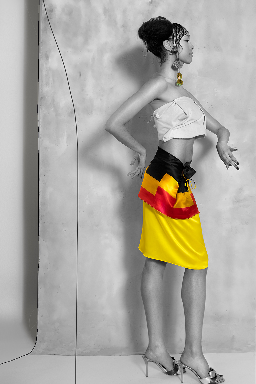 www.ruxandra-shop.com Skirt à la houppes printed sideview asymmetrical draping fashion.jpg