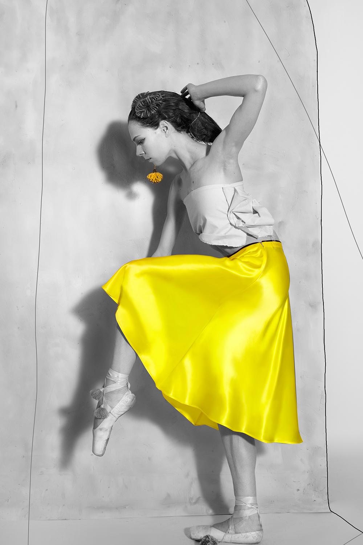 Biased Skirt - Lemon Yellow