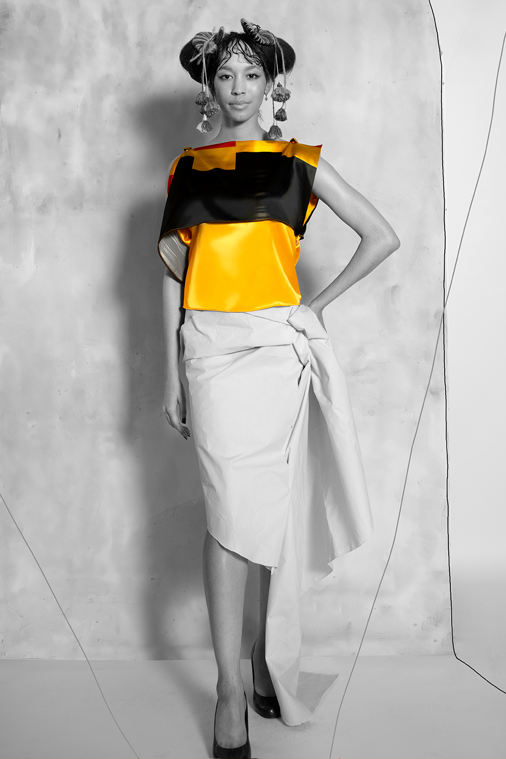 www.ruxandra-shop.com Do the Work  Top printed silk sideview asymmetrical great for events or office parties.jpg