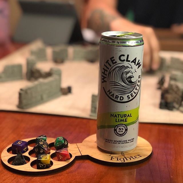 Tonight's D&D session made possible by White Claw (not sponsored 😉) and our Class Dice Coasters. Gotta keep those dice wrangled and that table free of drink rings, ya feel me?  Click that link in our bio to check out our Kickstarter and grab your own today! Just over a week left of the campaign - let's get this thing funded!! We also have some cool stretch goals in mind if we surpass our goal. Let's get after it!