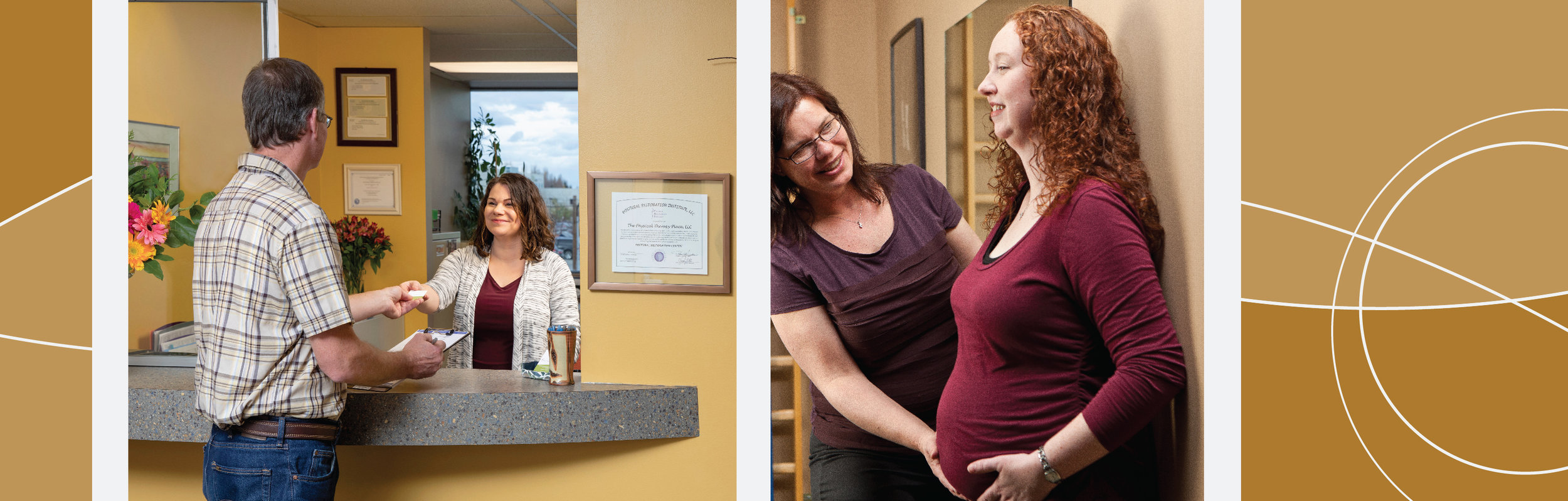 A patient is welcomed at the front desk. Physical therapist Katie Piraino works with a pregnant patient.