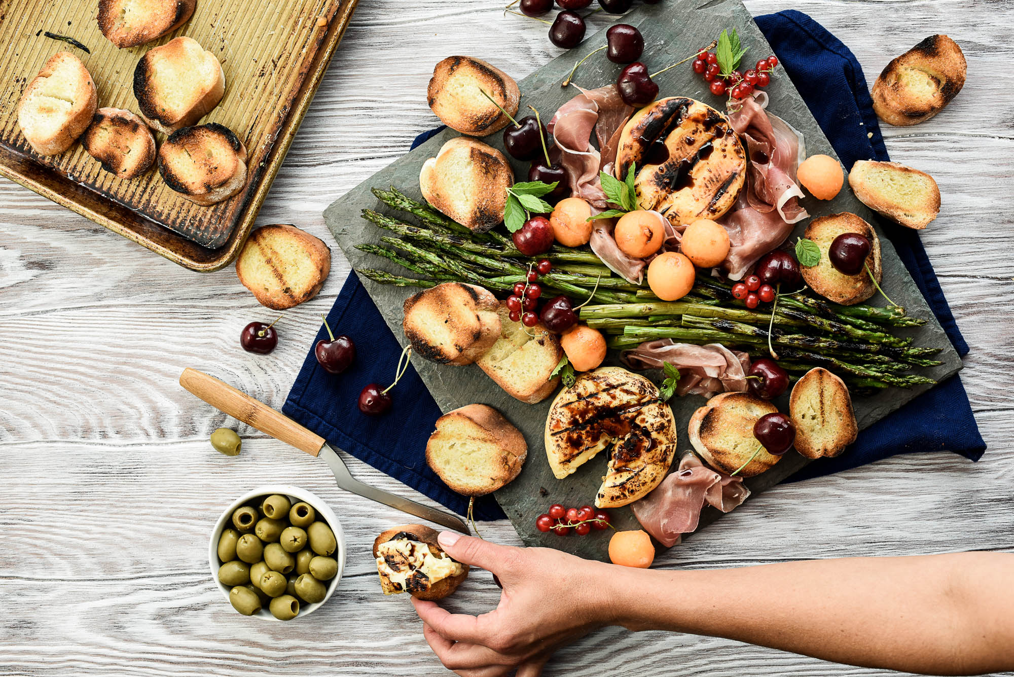Backyard Grilling Cheese Board - with Asparagus, Prosciutto & Melon