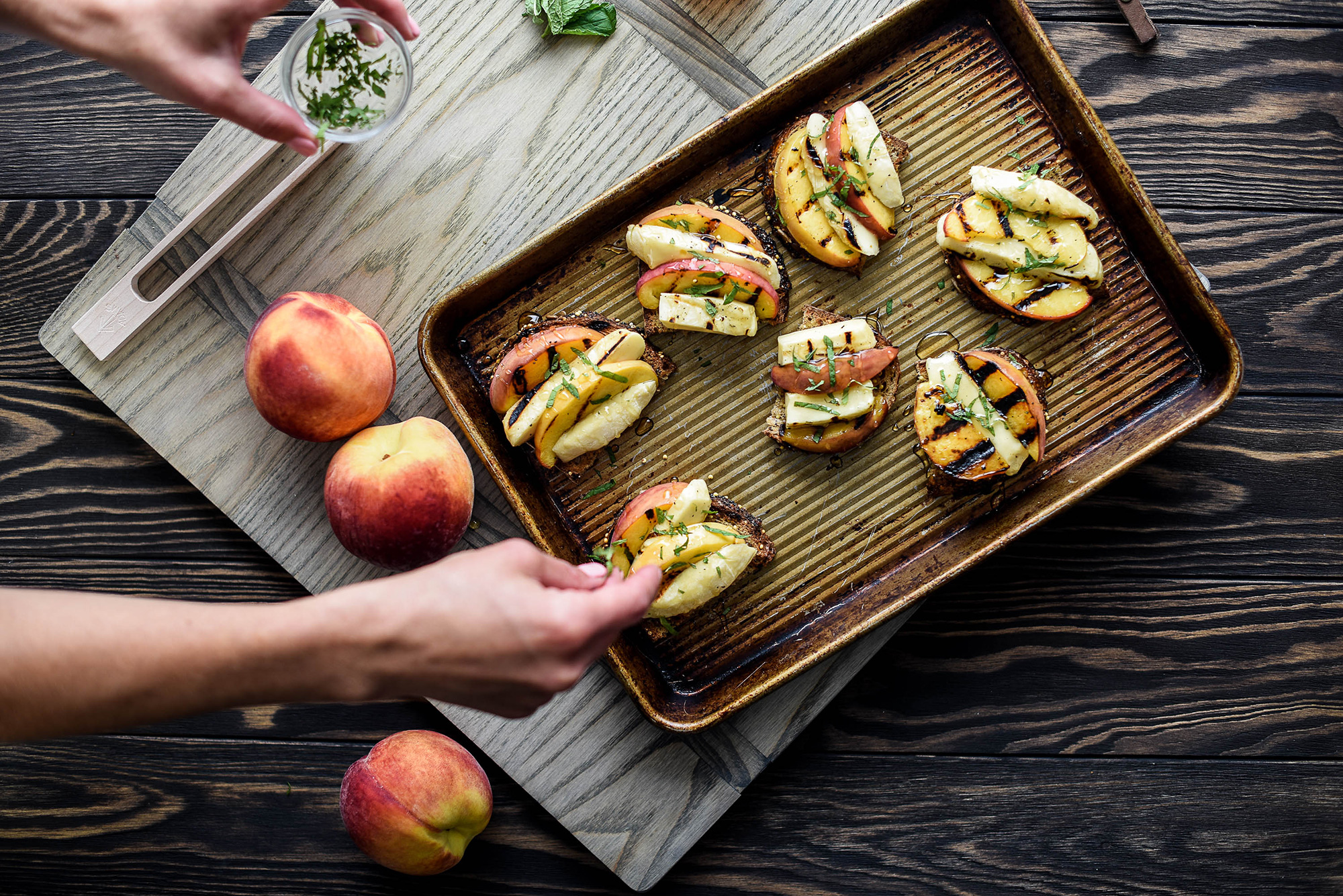 Grilling Cheese & Peach Toasts - with Fresh Mint and Honey