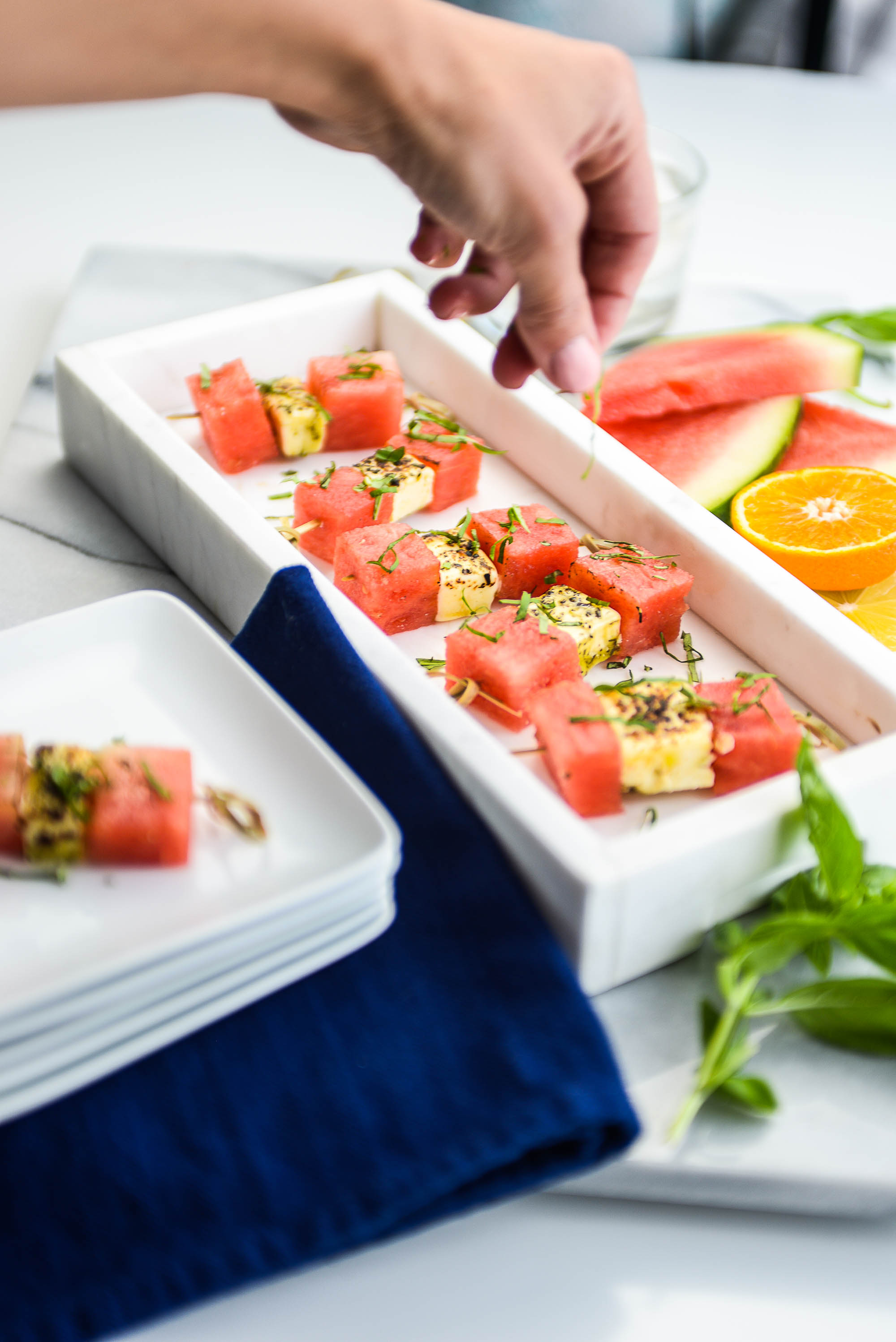 Marinated Grilling Cheese Cheese & Watermelon Stacks - with Basil