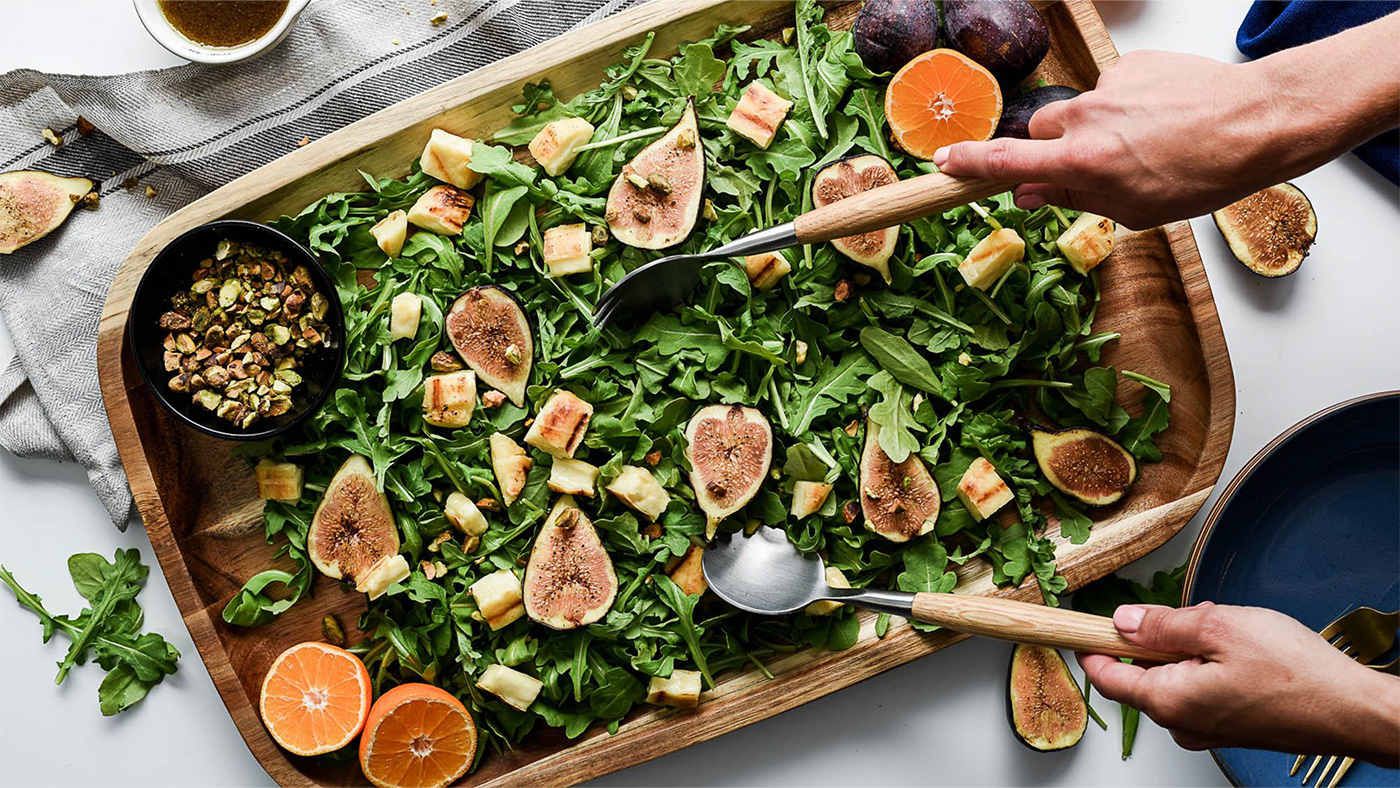 Grilling Cheese, Fig, & Arugula Salad - with Honey Balsamic Vinaigrette
