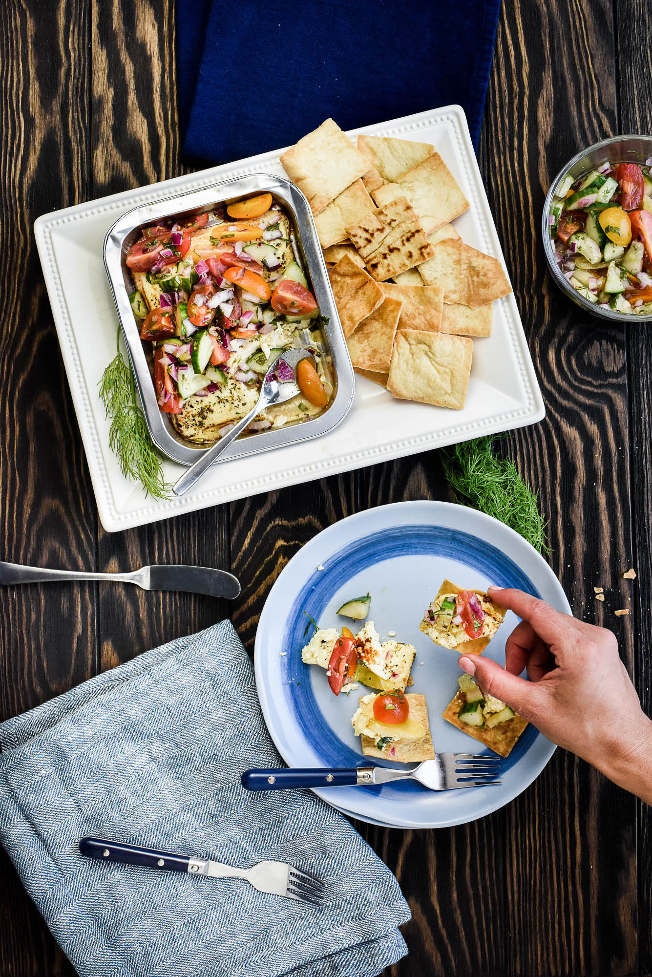 Marinated Grilling Cheese Mediterranean Dip - with Pita Chips