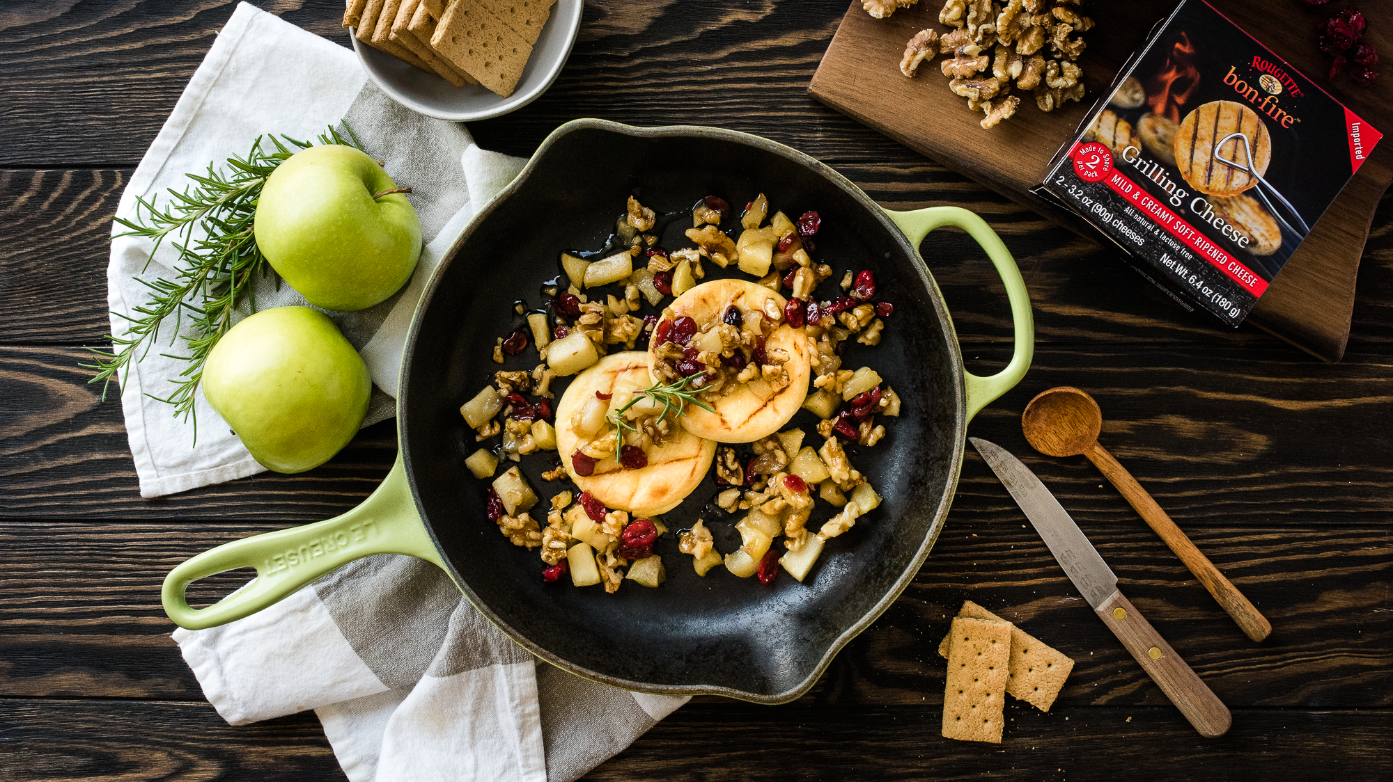 Grilling Cheese and Cranberry Apple Skillet Crisp -