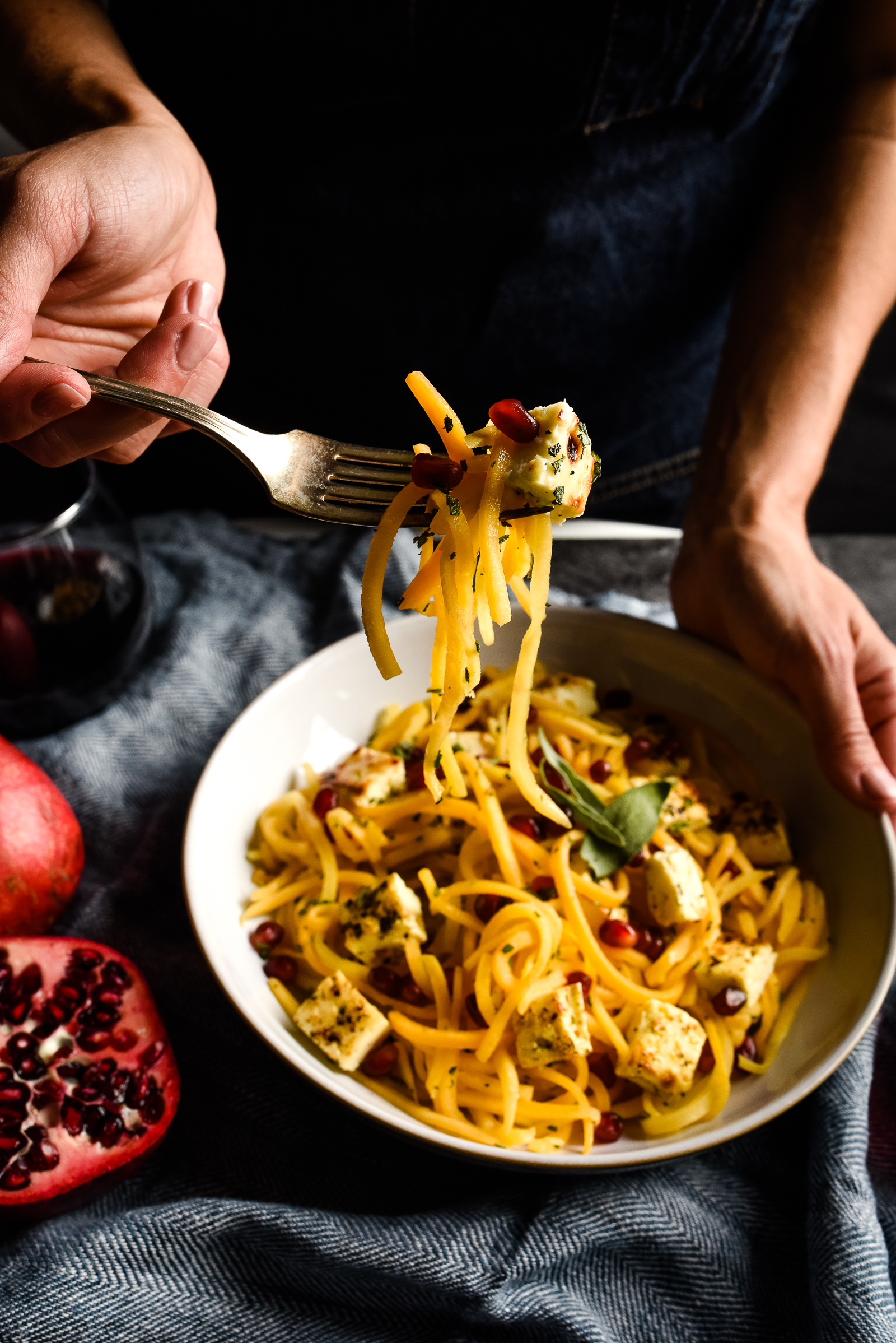 Marinated Grilling Cheese with Butternut Squash Noodles -