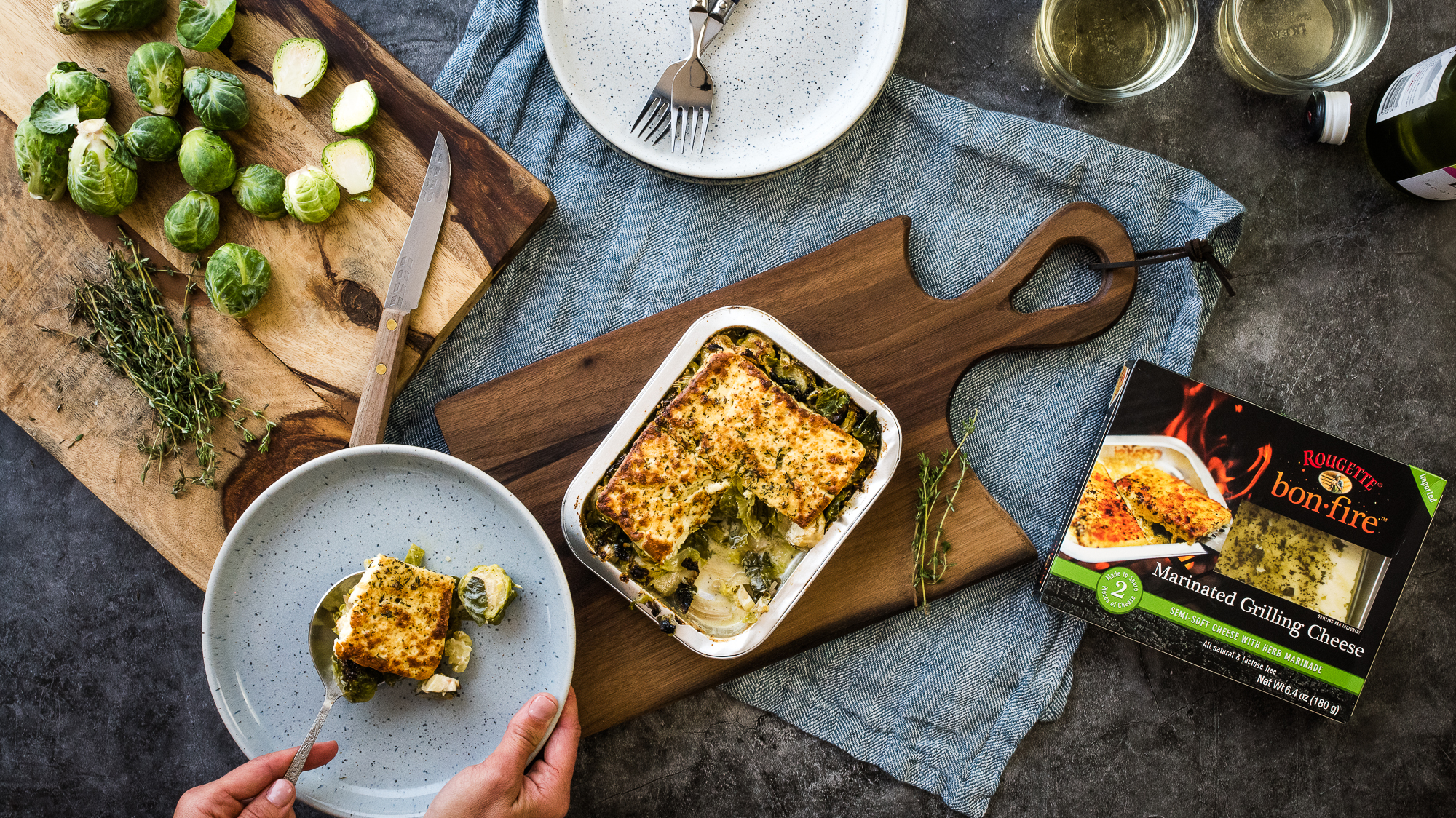 Marinated Grilling Cheese & Brussels Sprout Gratin -