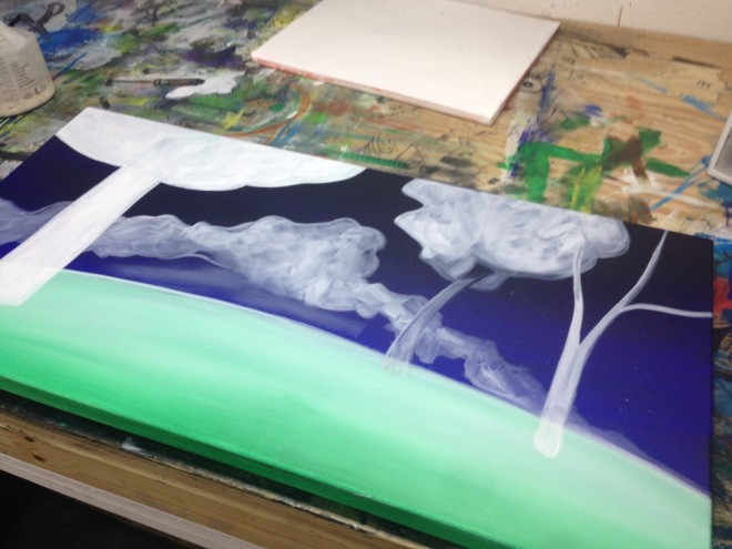 Justin Vining painting in progress