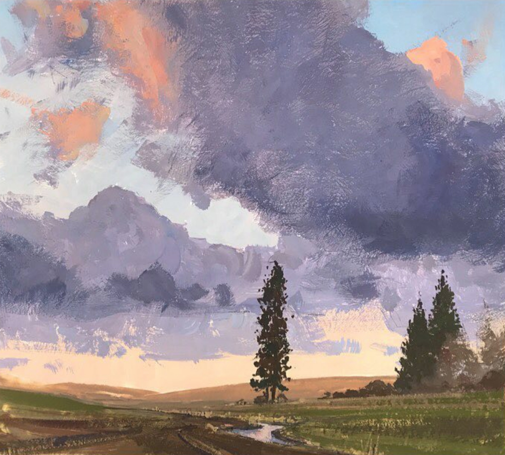 Aaron Cordell Johnson - Palouse Spring - Gouache - 9x9.jpg