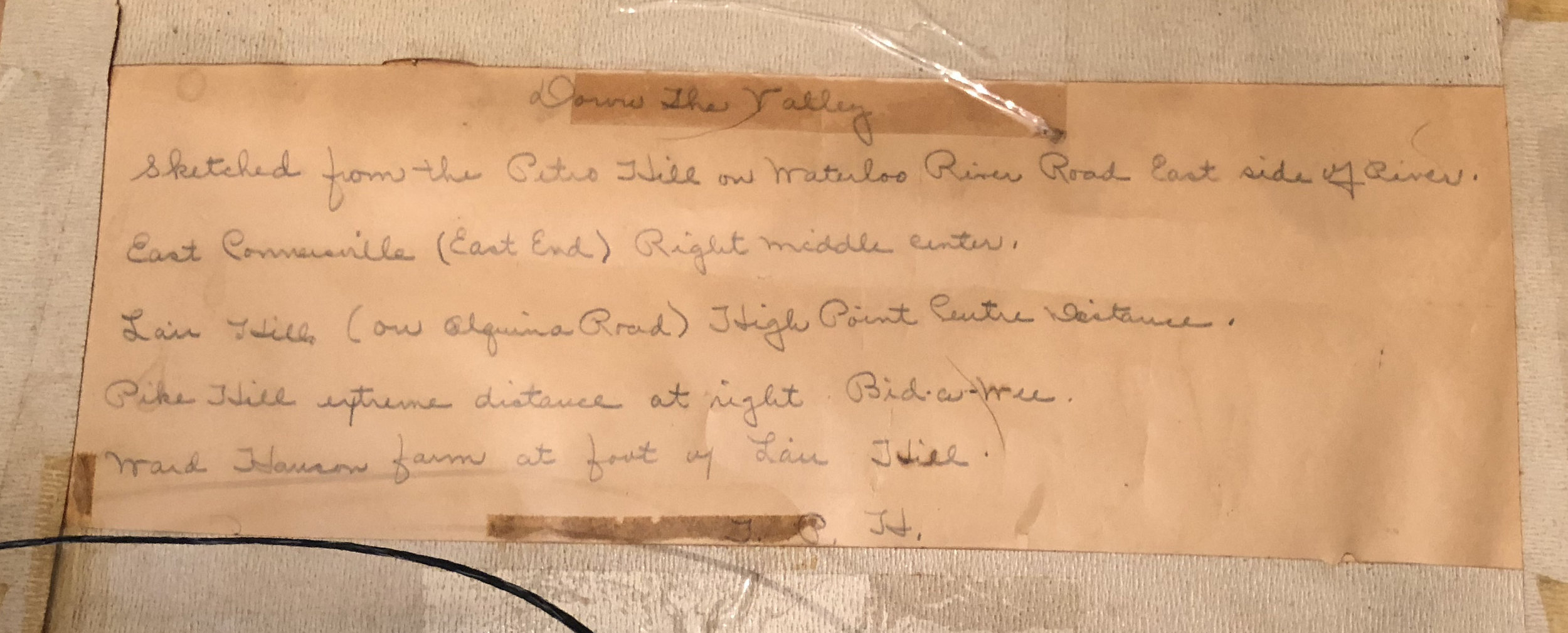 Description written on the back of the painting