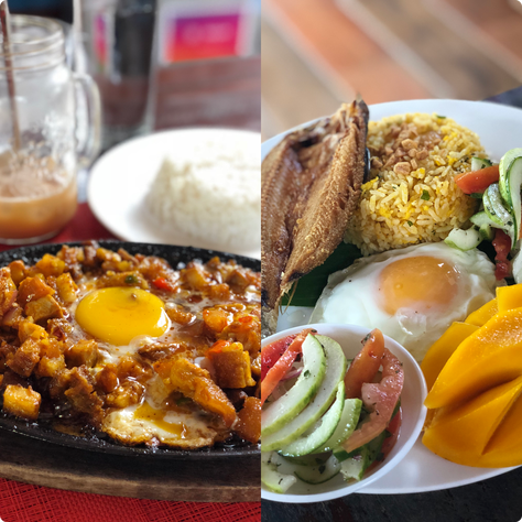 Sisig on the left, bangus fish on the right. Most of the food on Siargao Island is shipped from Manila, Cebu or nearby Surigao City. By Beverly Rose