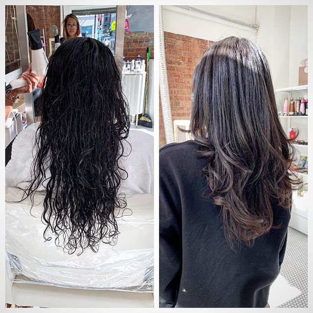 Before and after. Curly haired girls deserve smooth styles too!  Book your appointment through our website www.primp.nyc !!!
