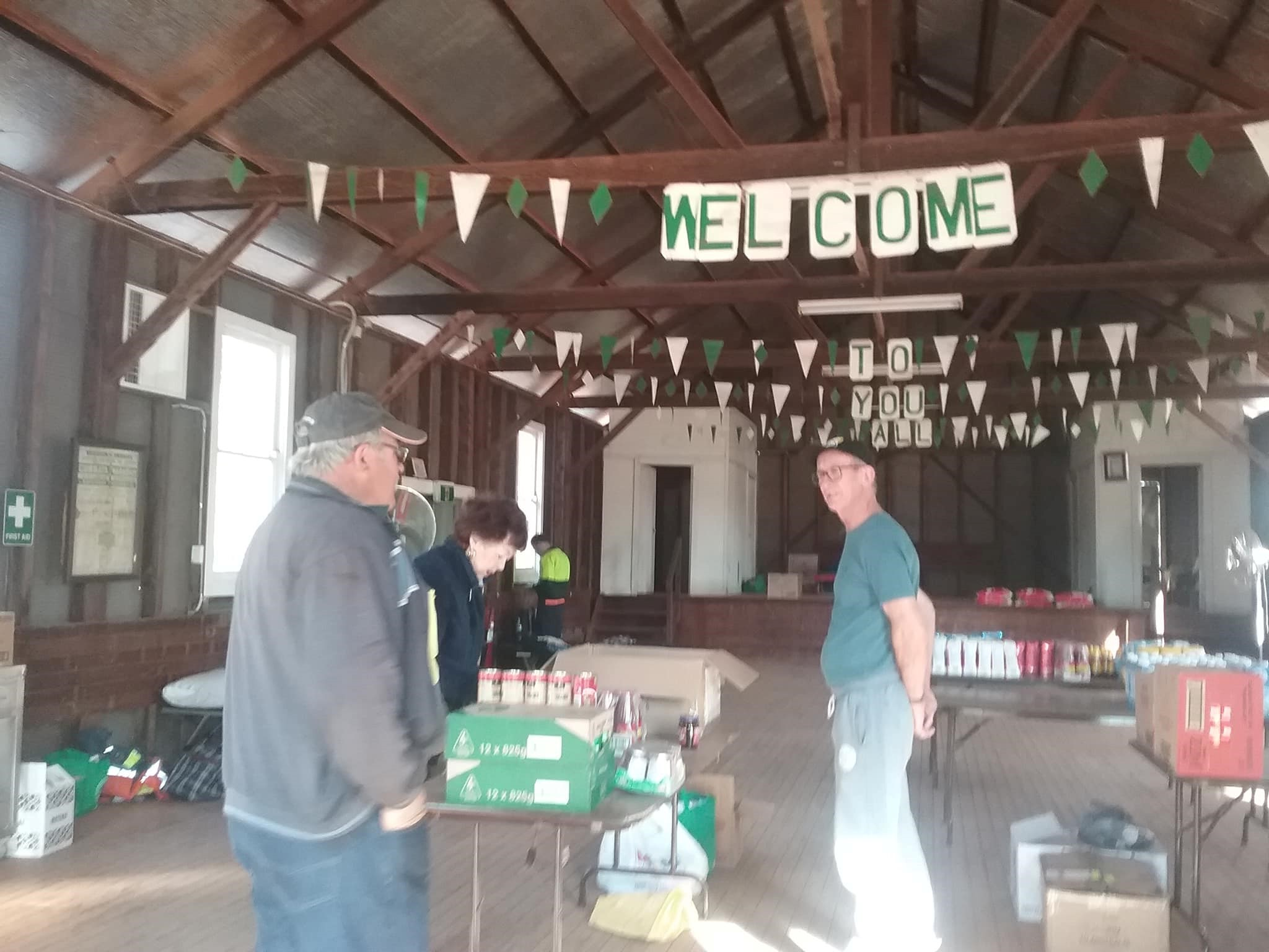 Community Hall filled with groceries