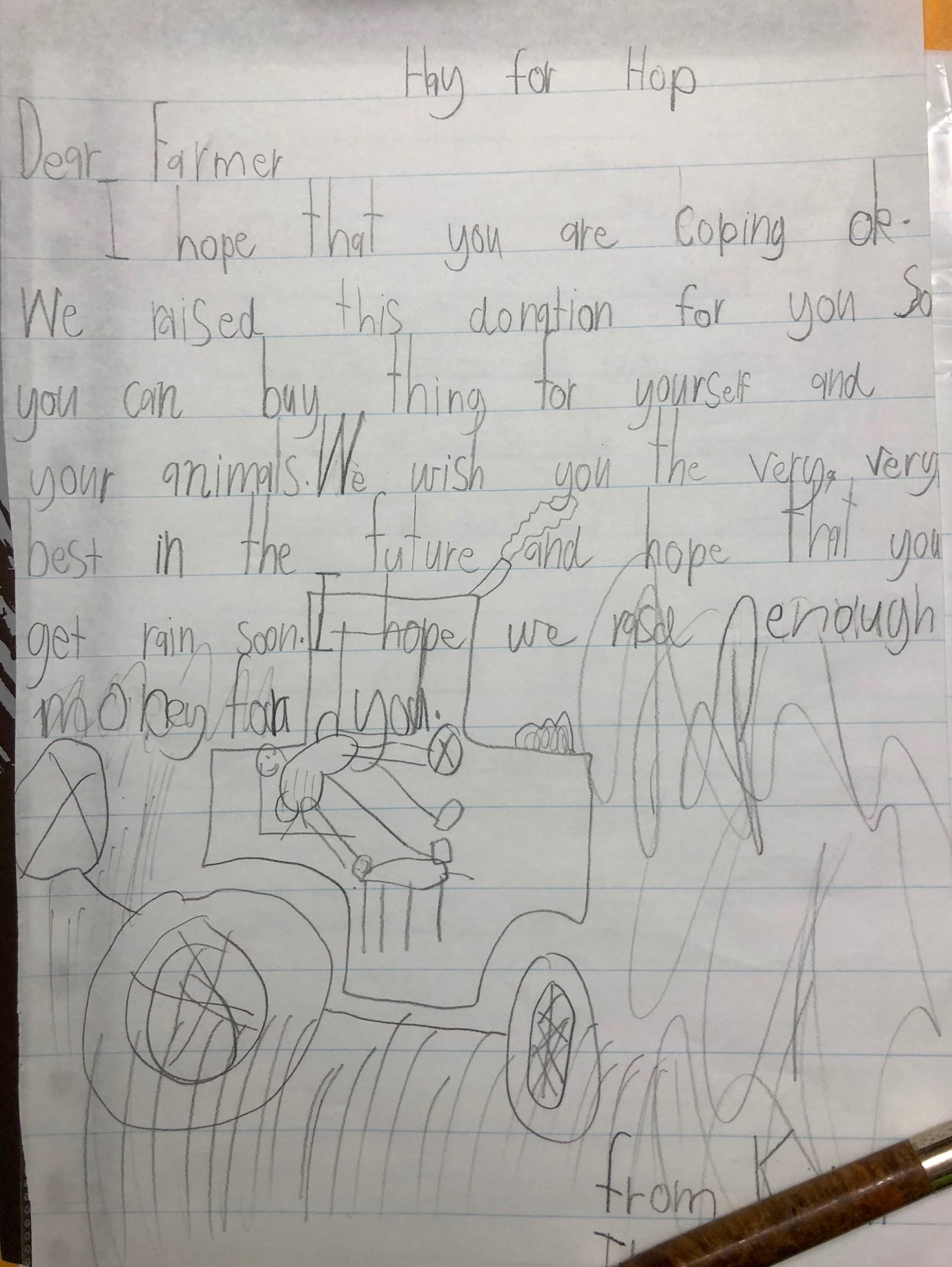A student helping to raise money via Hay for Hope included this handwritten letter to a farmer