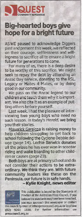 Redcliffe Herald News Editor's note