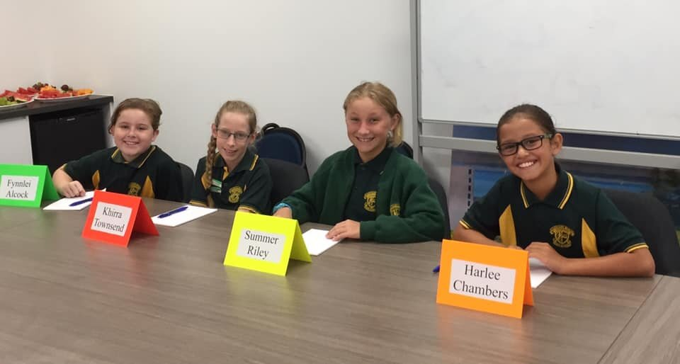 Redcliffe KAT students at their term board meeting.