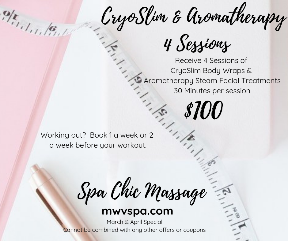 CryoSlim & Aromatherapy4 Sessions - Receive 4 Sessions of CryoSlim Body Wraps &Aromatherapy Steam Facial Treatments30 Minutes per session- May Special offer