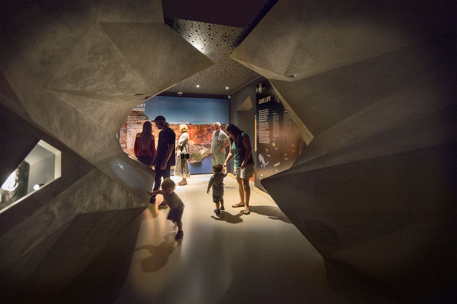 Three permanent exhibitions at the Ningaloo Centre take visitors on a journey through the region's social history, 'reef to range' ecological diversity and ancient landscapes.