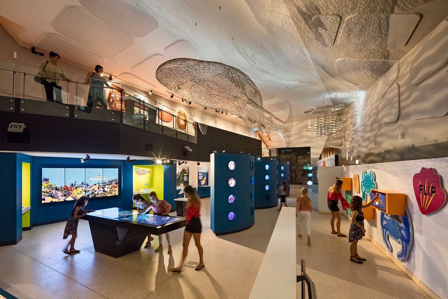 Ningaloo Centre. Marine artefacts, interactive video installations and multi-touch tables explore the complex yet fragile marine ecology of the region.