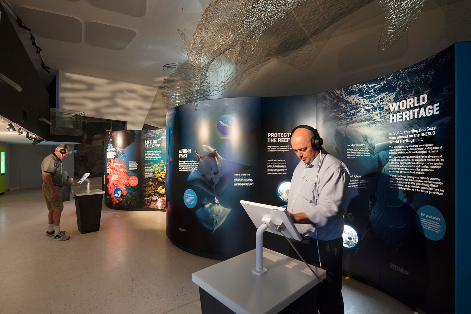 Marine artefacts, interactive video installations and multi-touch tables explore the complex yet fragile marine ecology of the region.