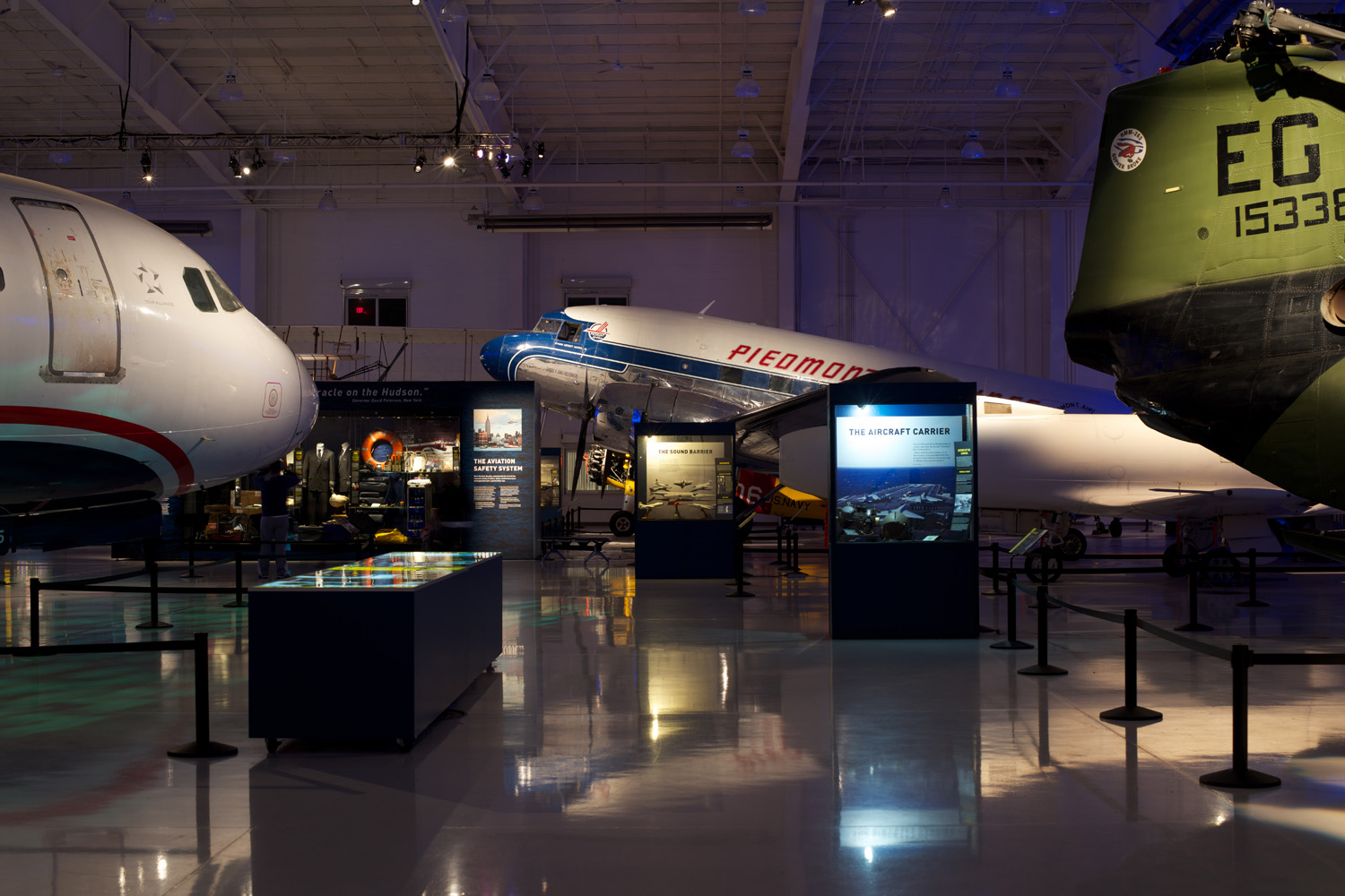 A thematic framework was outlined, with all exhibition content designed to transform the existing aviation hangar into an engaging visitor experience.