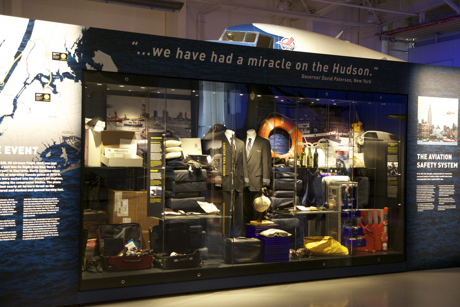 Encountering 'The Miracle on the Hudson', visitors are invited to engage with the iconic aircraft wreck and experience the dramatic story for themselves. This is achieved through touchscreen interactives, interpretive graphic panels, artefact displays and audio testimonies from passengers on board the flight.