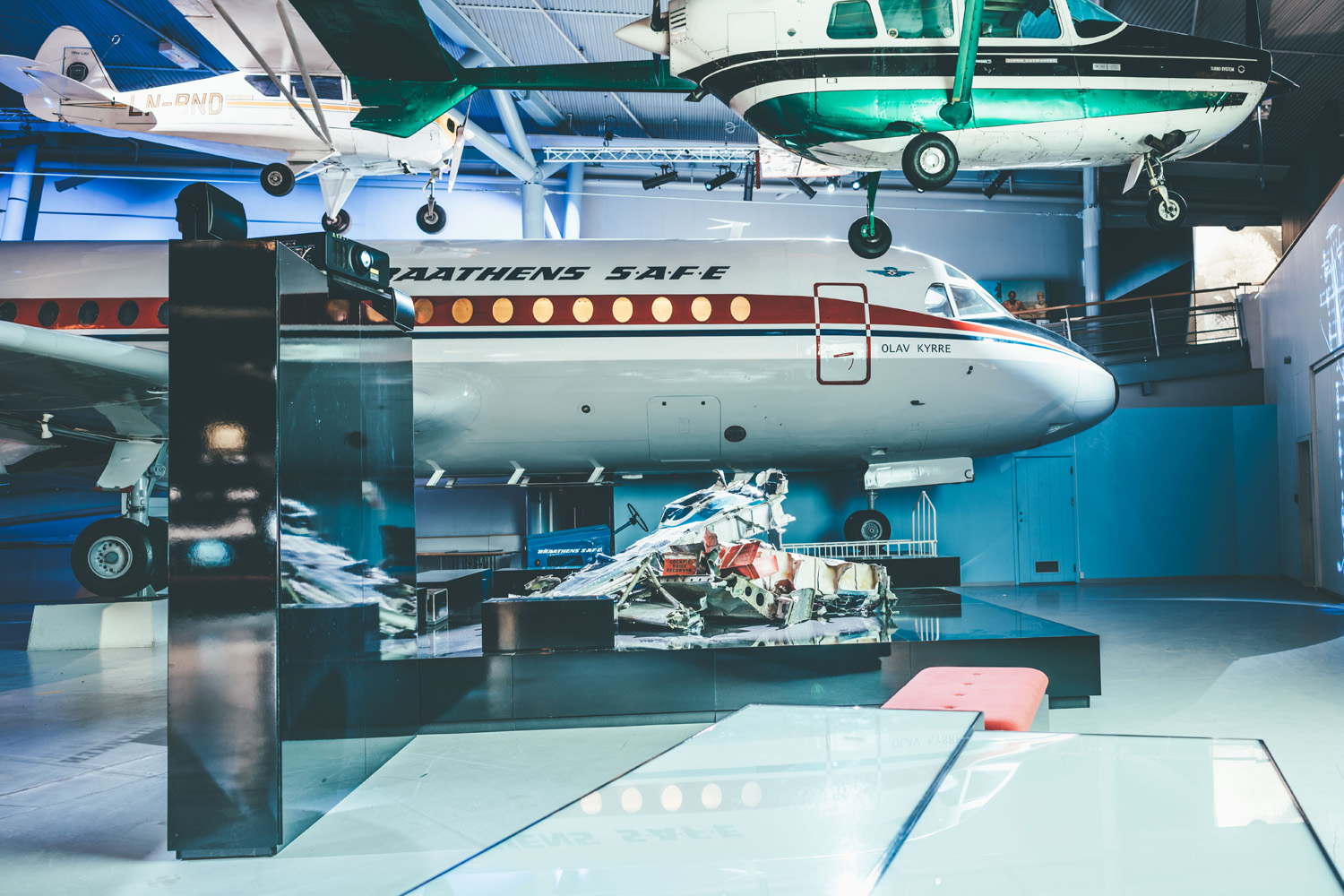 The Civil Aviation exhibit highlights the Luftfartsmuseum's extensive aviation collection, utilising historical footage alongside dramatic lighting and soundscapes which bring the aircraft to life.