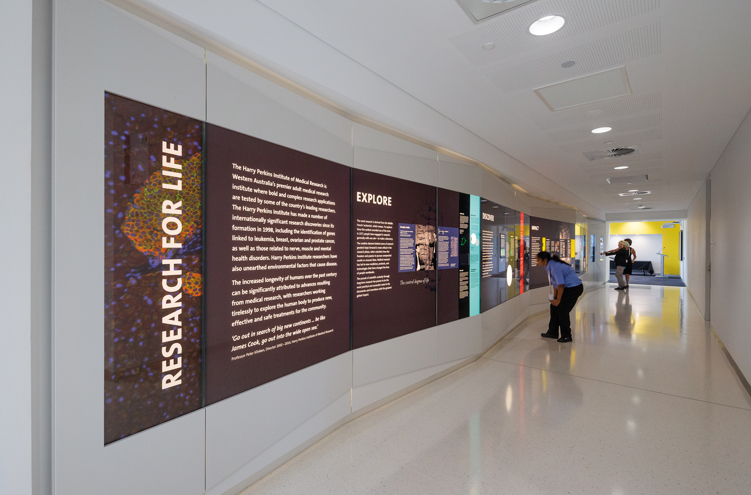 Interpretive display, with detailed stories regarding the diversity of research at the Institute as well as various collaborations with the international community.