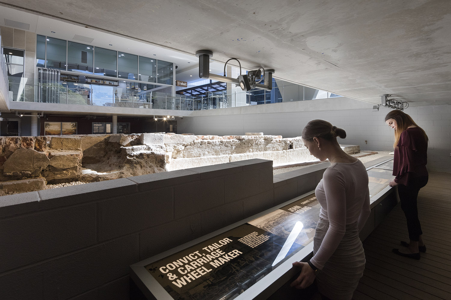 These stories are supported by the artefacts themselves, many of which are utilised throughout the exhibition in purpose-built display cases or entombed within large slabs of resin