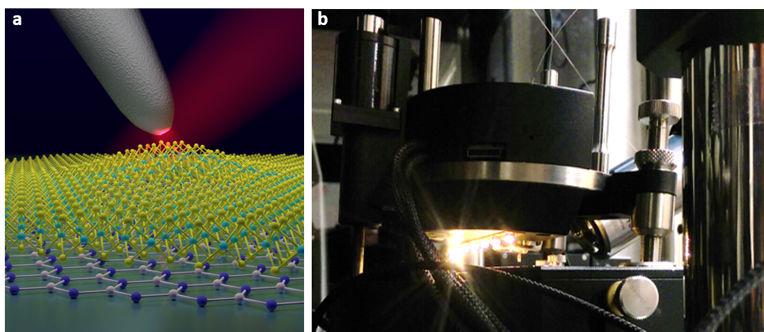 Figure - Nano-optical imaging & spectroscopy.  (a) Schematic of a sharp silver nano-optical antenna probing nanoscale light-matter interactions of quantum emitter states in a nanobubble of monolayer WSe2. (b) Closeup photograph of nano-optical microscopy configuration comprised of a scanning probe head next to a side-illuminating microscope objective with broadband LEDs providing a wide-area light source for imaging.