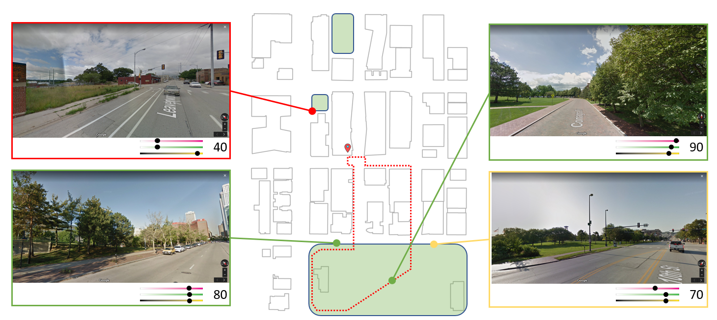 """Path-finding  The  """"Stroll"""" Javascript module  was created to provide a high-level interface into computing a """"nature score"""" for a given point or area."""