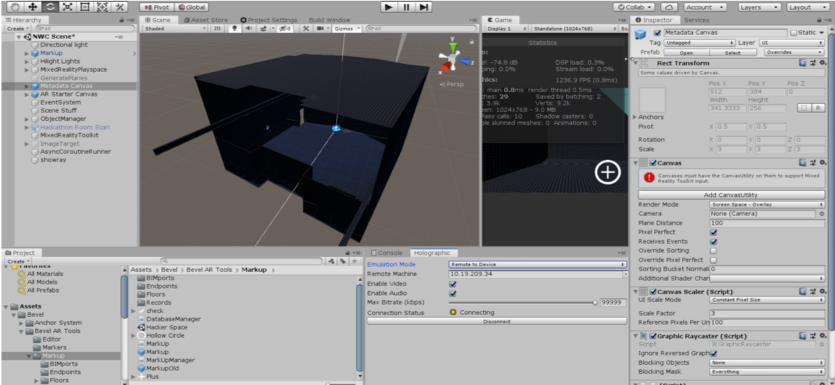 Model  The BIM model is used as the base/overlay in Unity to provide element parameters and metadata on top of the built environment.