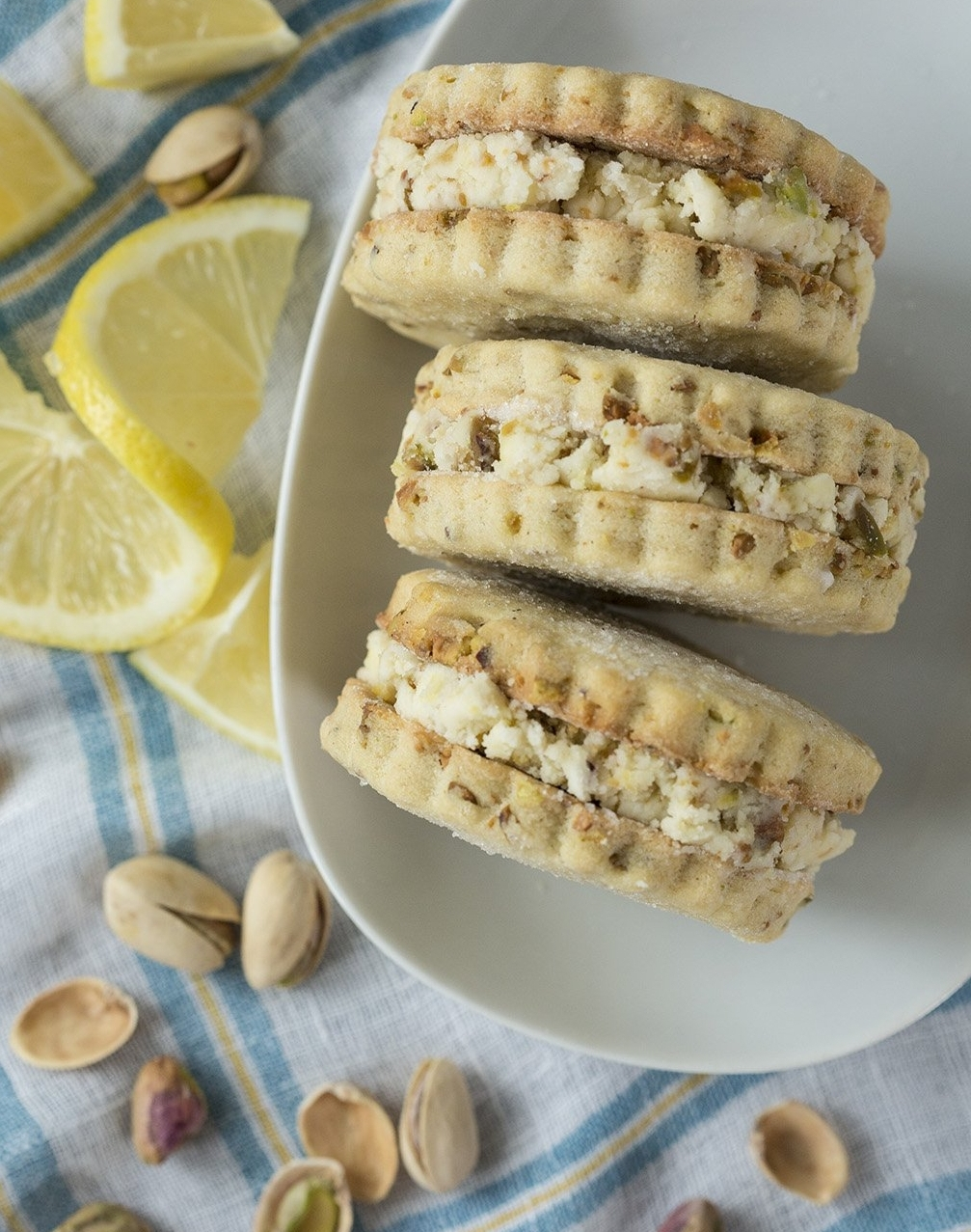 Sandwich Cookies - lemon pistachio