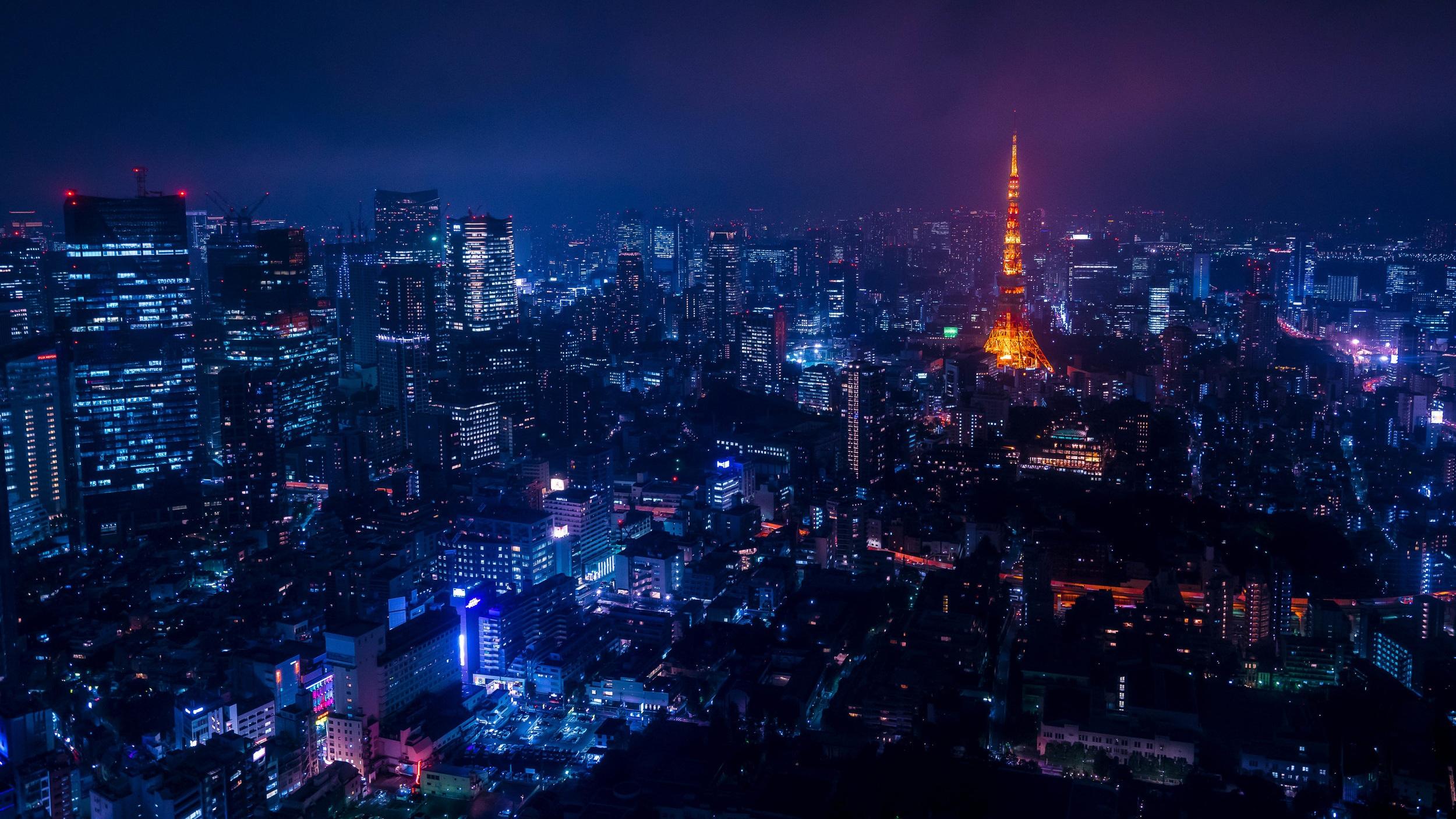 tokyo skyline city night tower