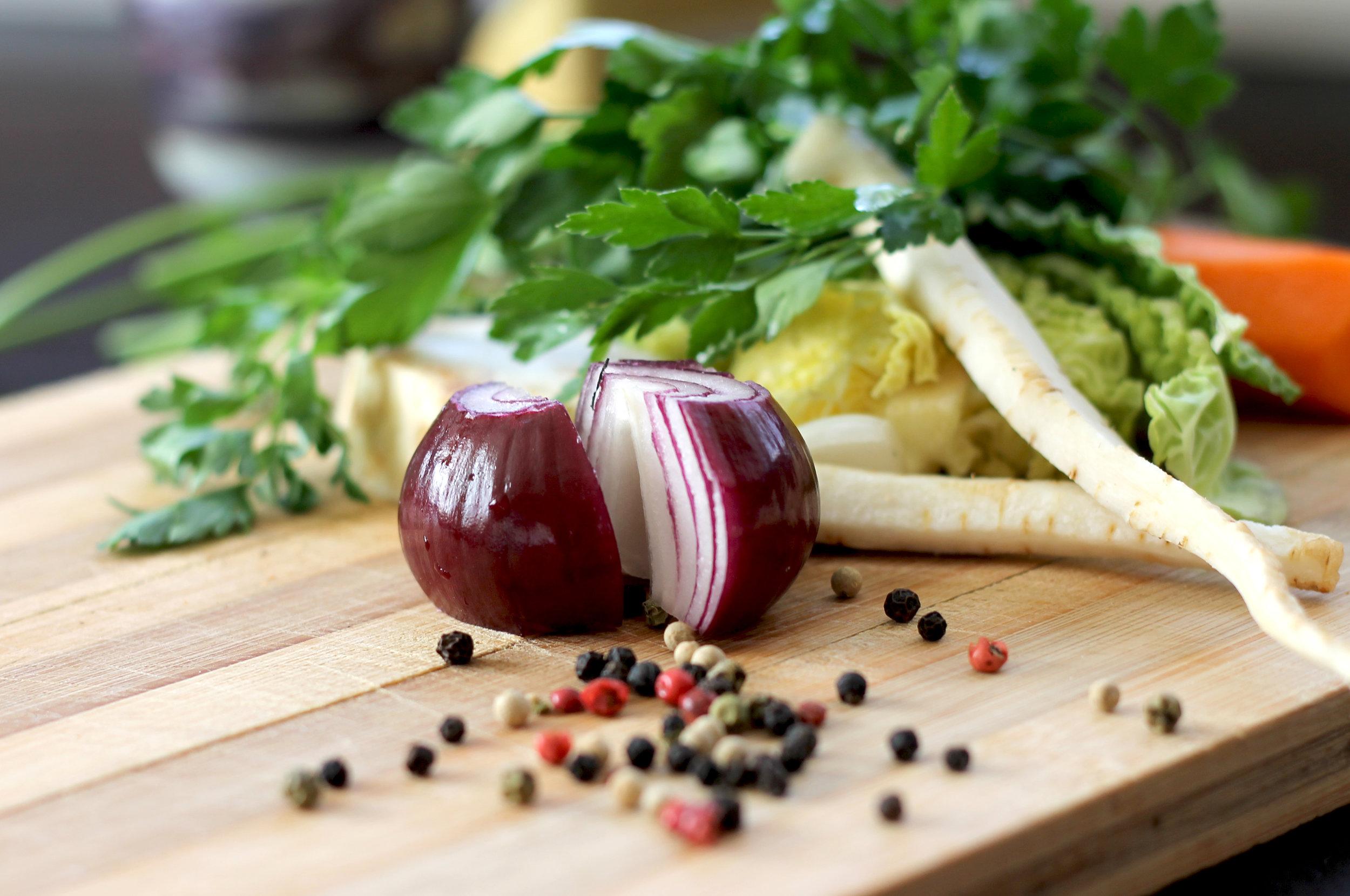 onion on chopping board