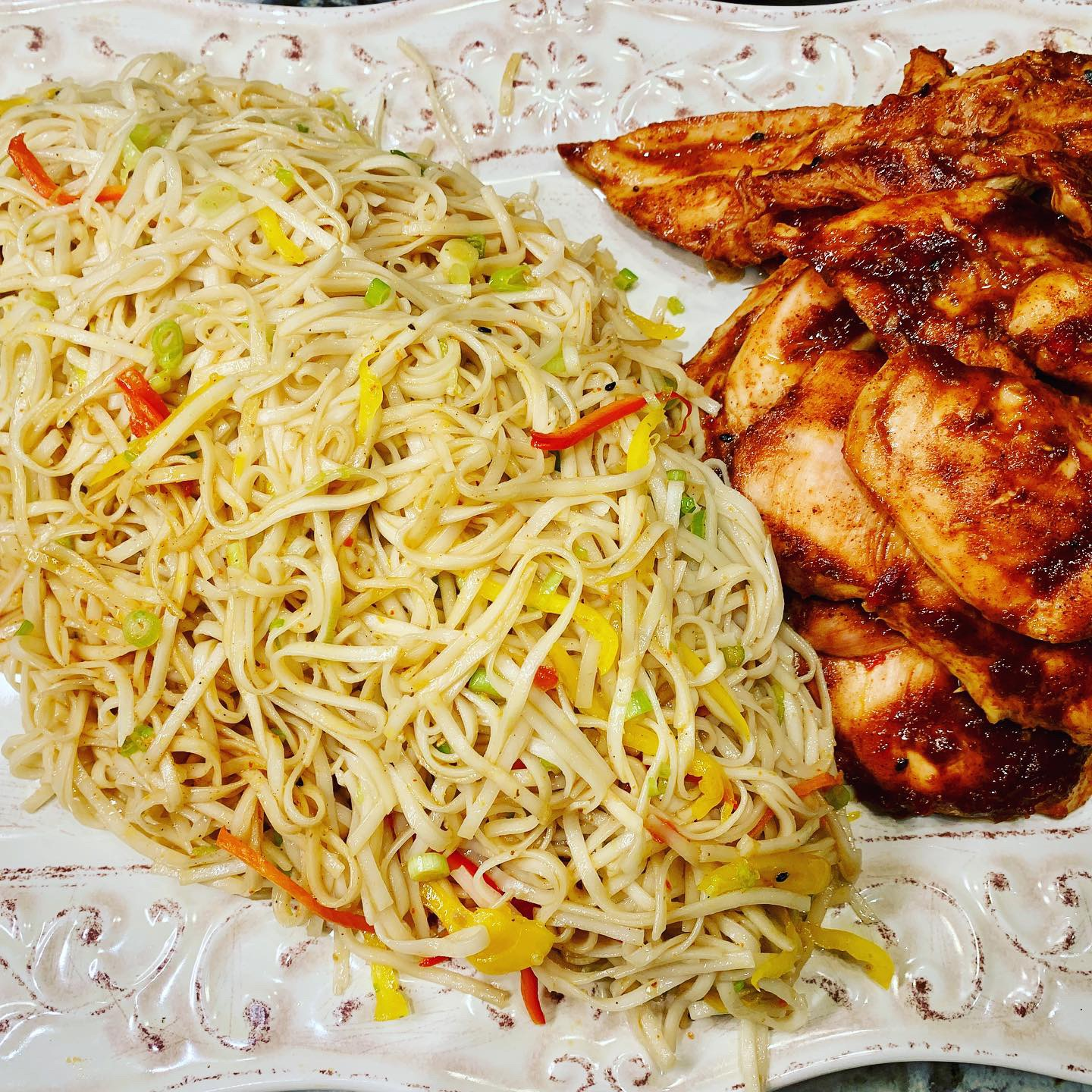 Grilled Korean Chicken with Yakisoba Noodles