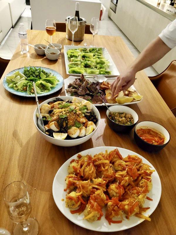 Mofongo Balls (3), Lettuce Wraps (7), Grilled Lamb Chops (4) & Seafood Paella (3)