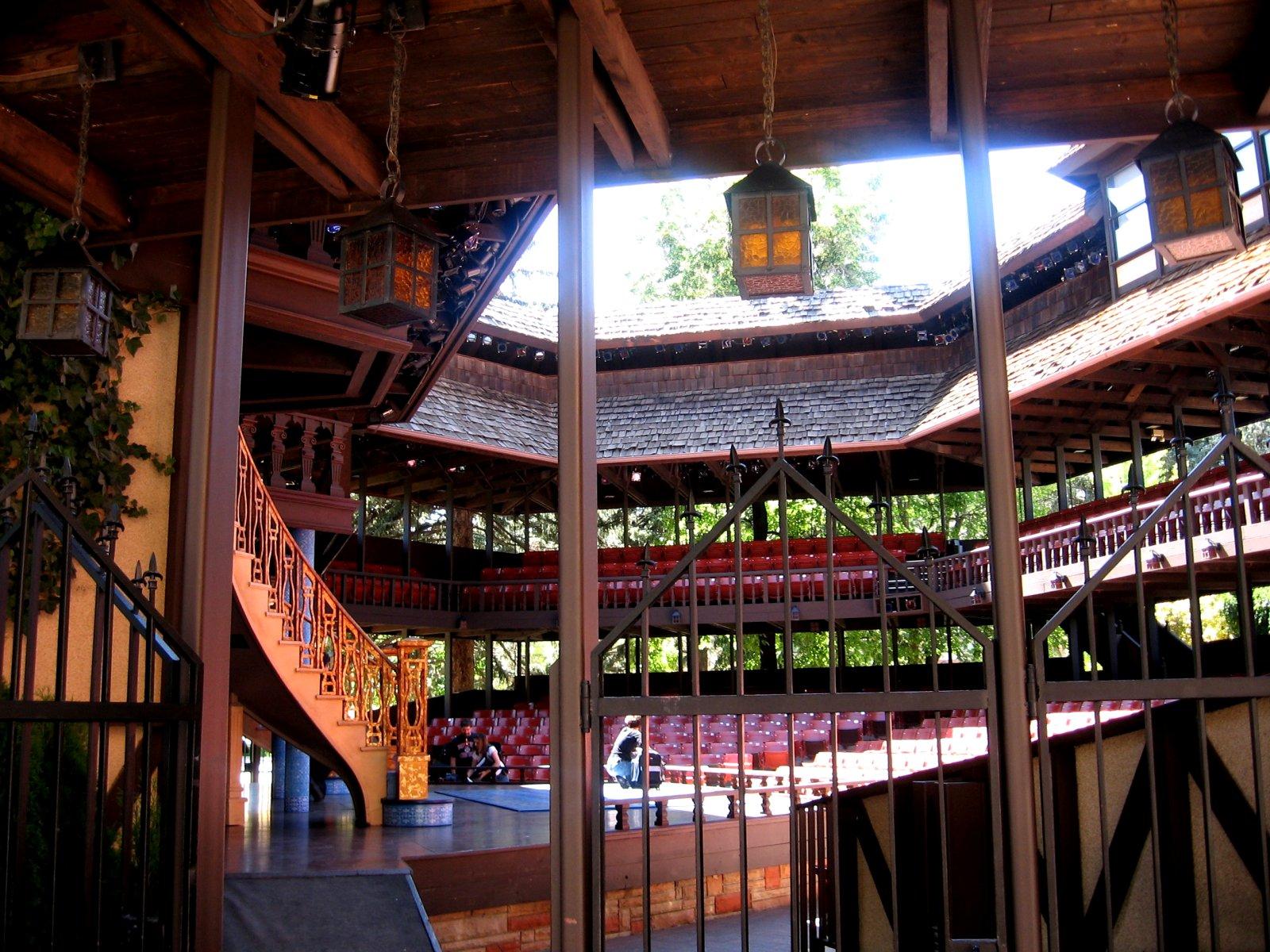 Interior of the Adams Memorial Theater, a replica of the Globe Theatre