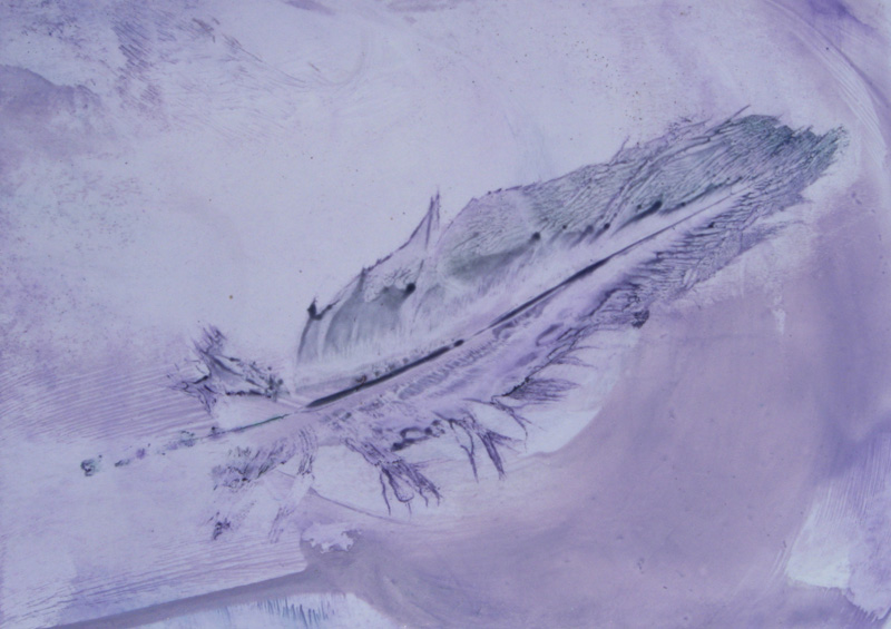 Waxing through a feather onto a background