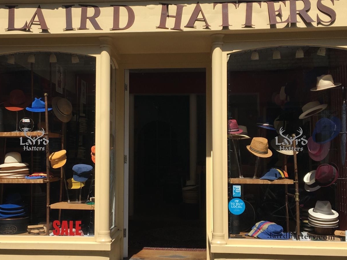 Laird Hatters - Free copper hat pin or feather with every hat purchase. 15% off and a shot of whiskey
