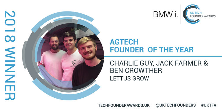 LettUs Grow win first place in two categories of the BMW i: UK Tech Founder Awards - LettUs Grow's founders - Ben Crowther, Jack Farmer and Charlie Guy - have come out on top in two of the 14 categories at the BMW i: UK Tech Founder Awards: AgTech and FoodTech.
